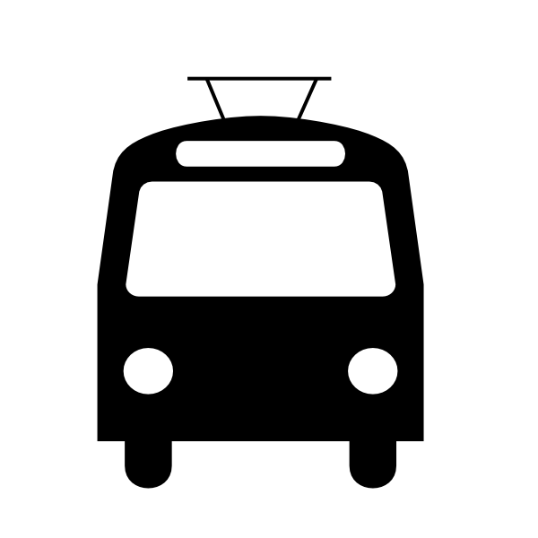 Large trolleybus. Black clip art at