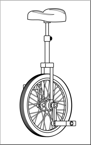 Large unicycle. Clip art b w