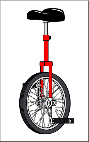 Large unicycle. Clip art color i
