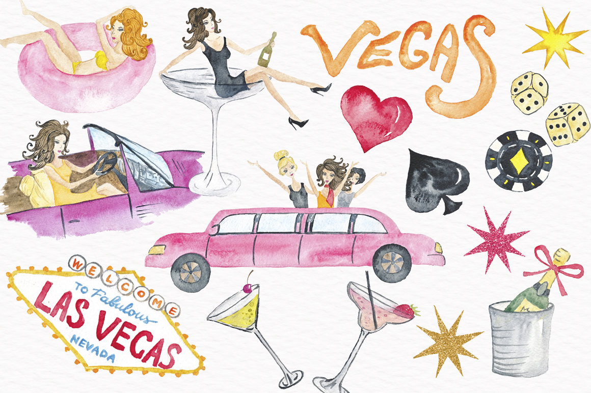 Las vegas clipart. Party watercolor by tanya