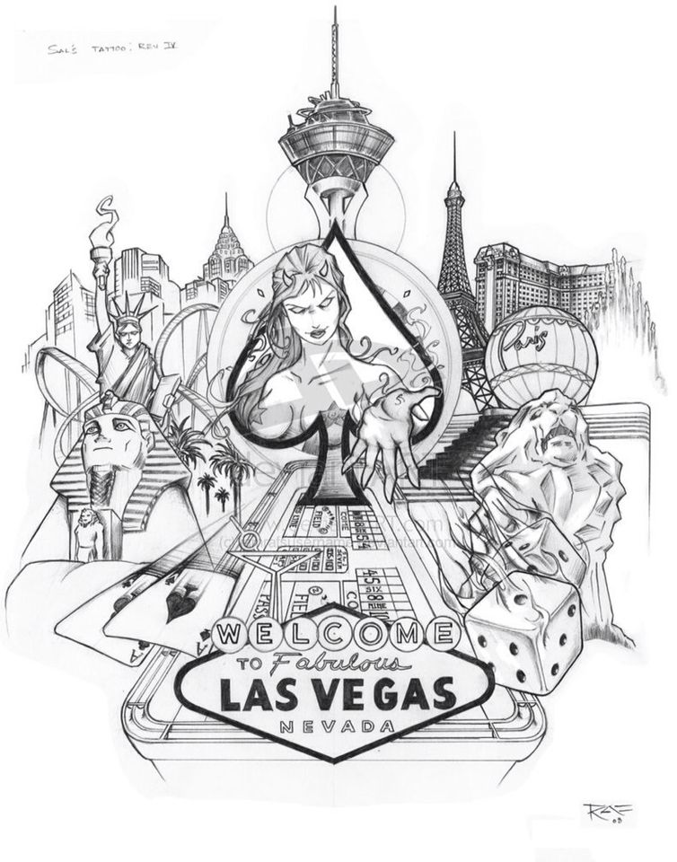 Las vegas clipart tattoo. Design inked pinterest and