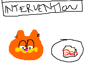 Lasagna drawing cartoon. Garfield interviened about addiction