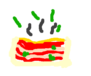 Lasagna drawing line. A yummy piece of
