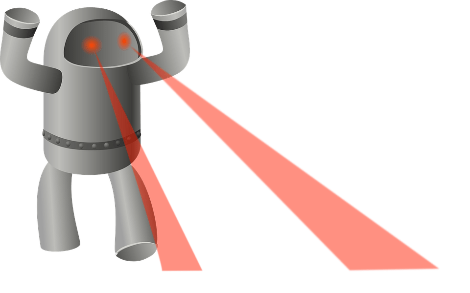 Robot archer security group. Laser eyes png png black and white
