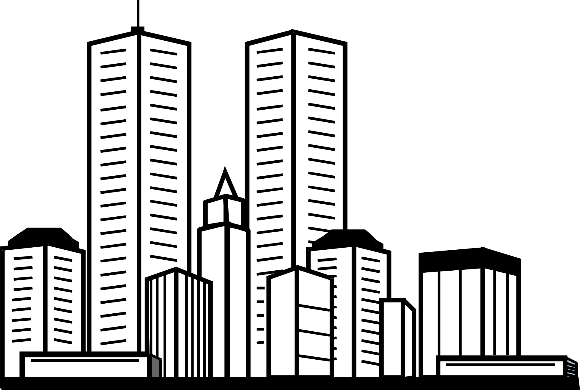 Drawing structures skyscraper. Buildings and architecture printable