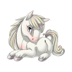 Latest drawing unicorn. Winter white valley of