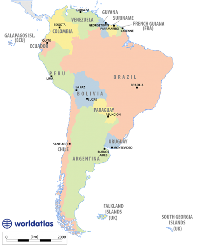 Landforms drawing estuary. South america capital cities