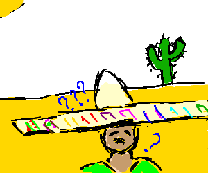 Latino drawing sad. Confused guy looks in