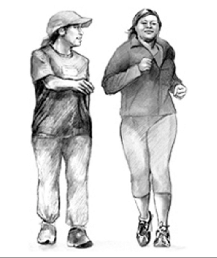 Latino drawing sketch. Of brisk walking with