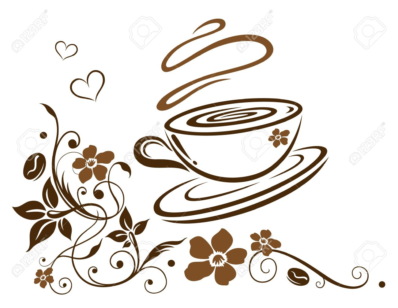 Latte clipart cafe border. Printable art for coffee