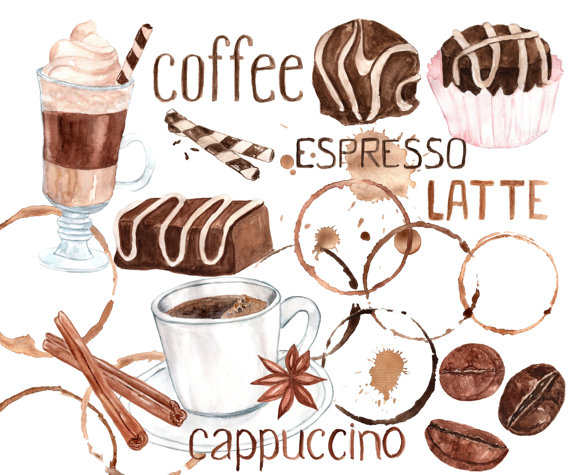 Latte clipart coffee shop. Watercolor sweets bean mug