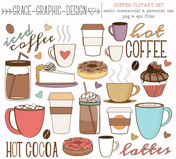 Latte clipart coffee tea. And donut baking hand