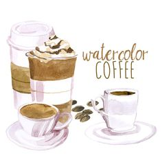 Latte clipart coffee tea. And donut baking watercolor