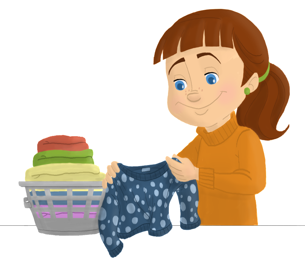 Folding clothes png. Folded laundry clipart ero
