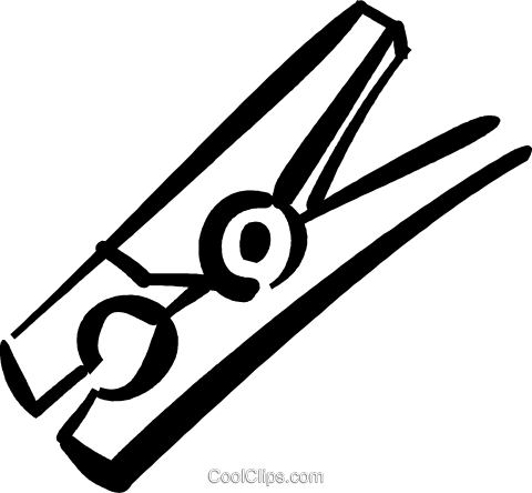 Clothing clip clothespin. Black and white