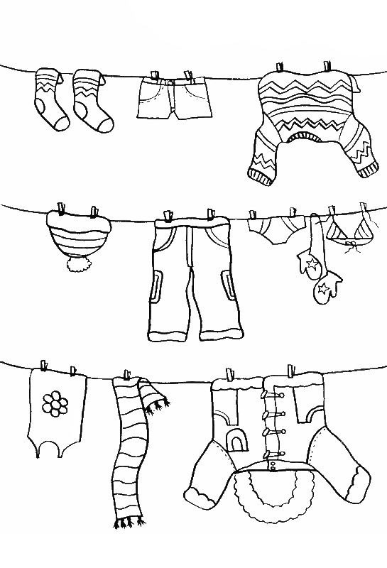 Laundry drawing coloring page. Pictures color the winter