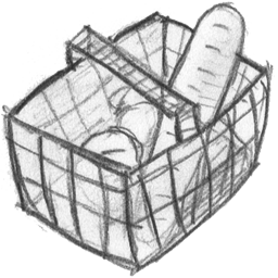 Laundry drawing icon. Basket full download hand