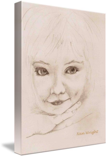 Laundry drawing pencil. Sketch of young girl