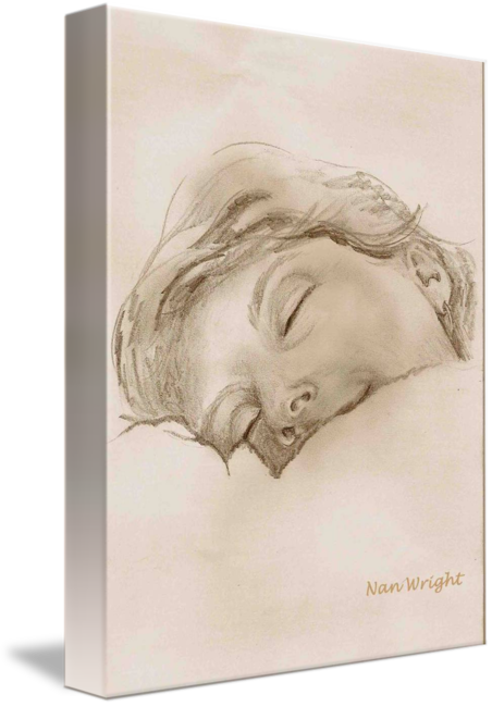 Impressionistic drawing pencil. Sketch of sleeping woman
