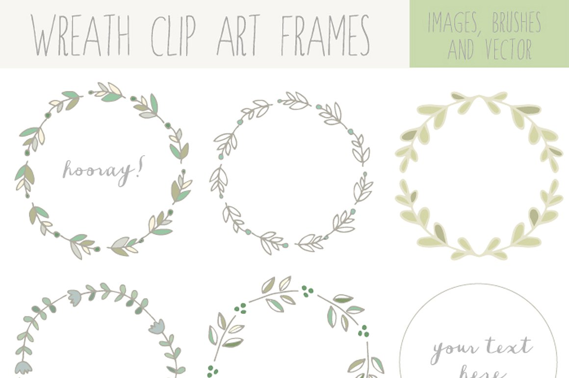 Handdrawn wreath clip art. Laurel clipart jpg black and white stock