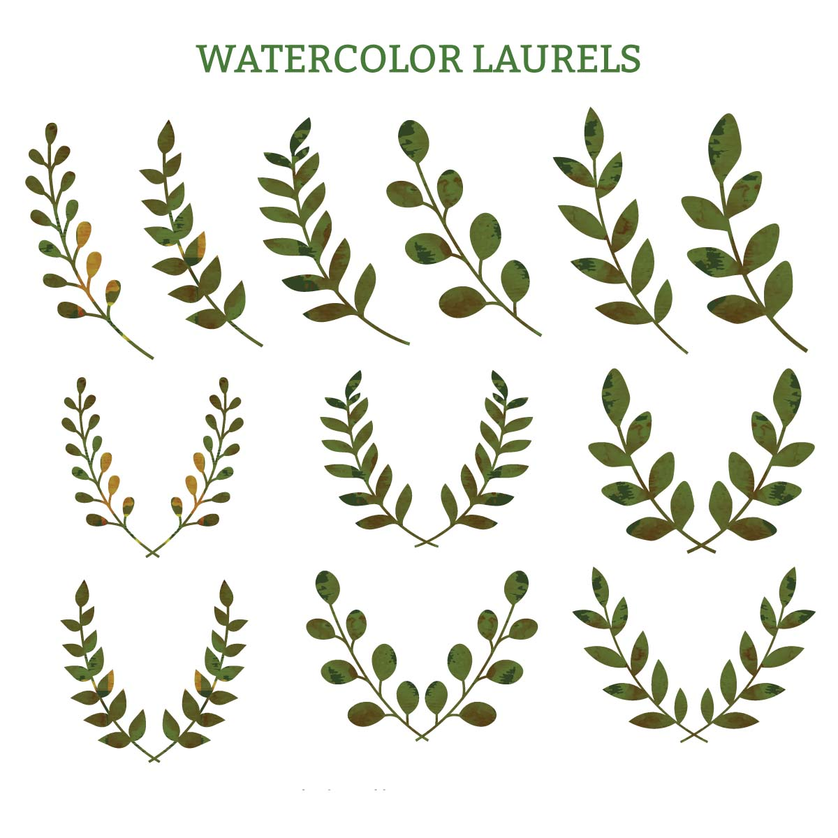 Laurel clipart. Watercolor laurels green decorative clipart black and white stock