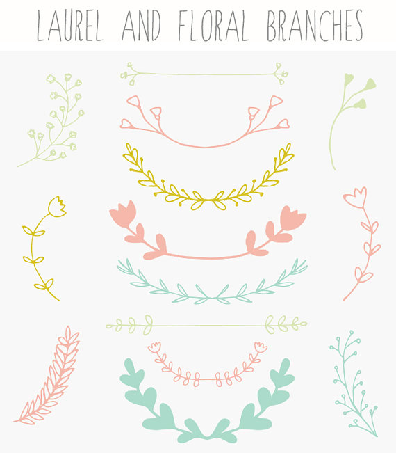 Laurel clipart floral. Branches wreath clip art