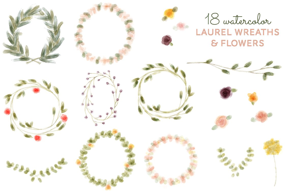 watercolor wreath flower. Laurel clipart floral picture library stock