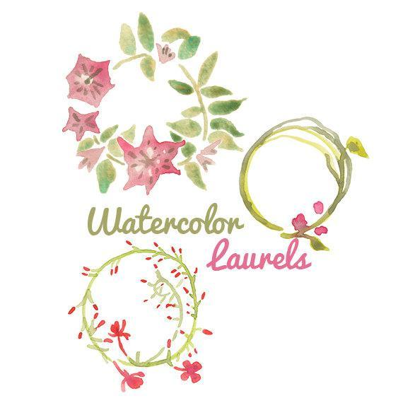 Laurel clipart floral. Watercolor flower clip art
