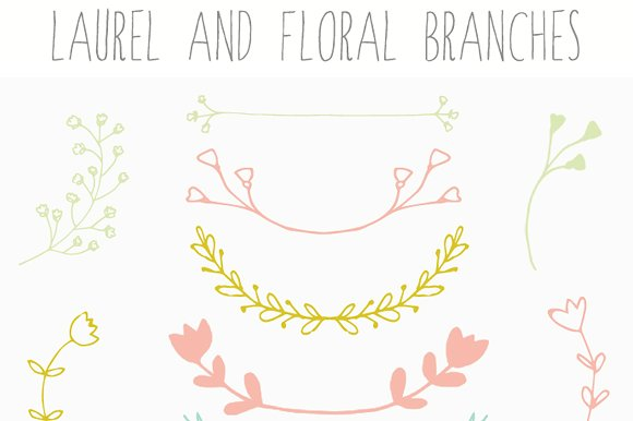 Laurel clipart floral. Clip art and branches