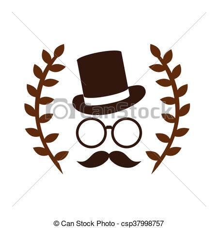Laurel clipart hipster. Face wreath and hat banner black and white library