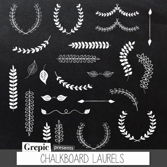 Laurel clipart line. Chalkboard laurels pack with png freeuse