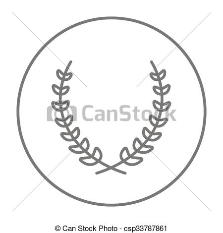 Laurel clipart line. Wreath icon for web image transparent