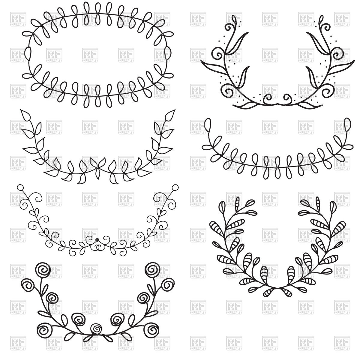 Simple wreaths vector image. Laurel clipart line royalty free download