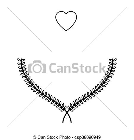 Laurel clipart line. Heart wreath icon simple vector library download