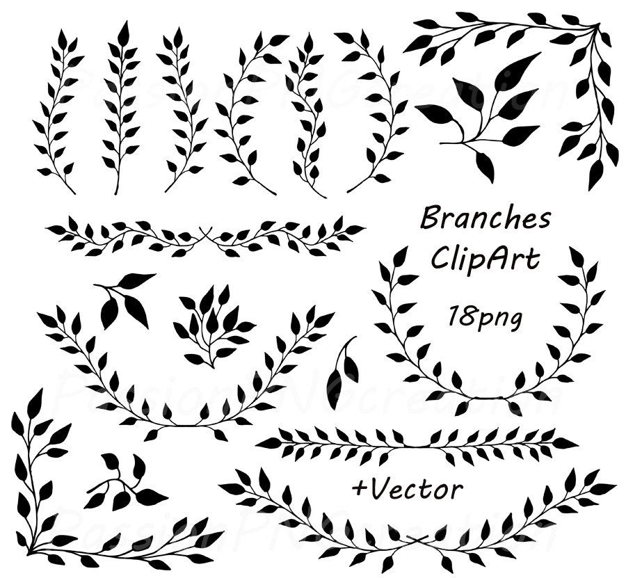 Laurel clipart line. Black pencil and in