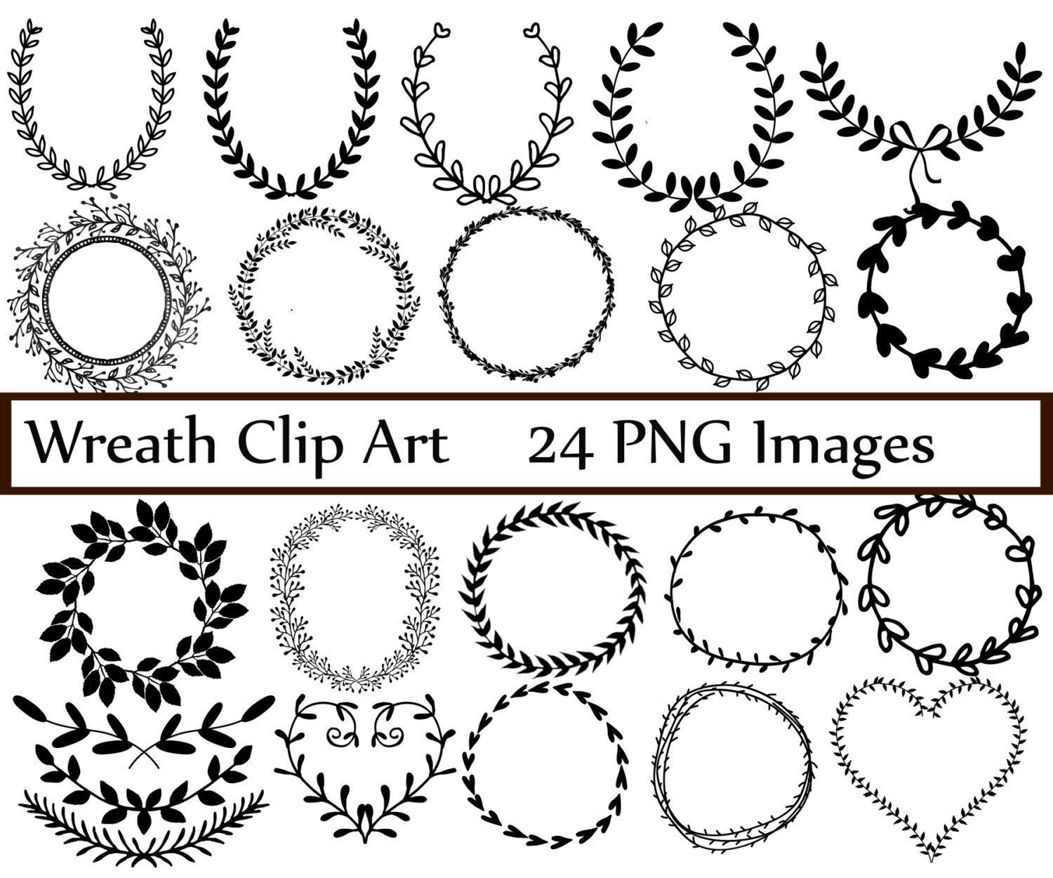 Laurel clipart pdf. Wreath clip art digital