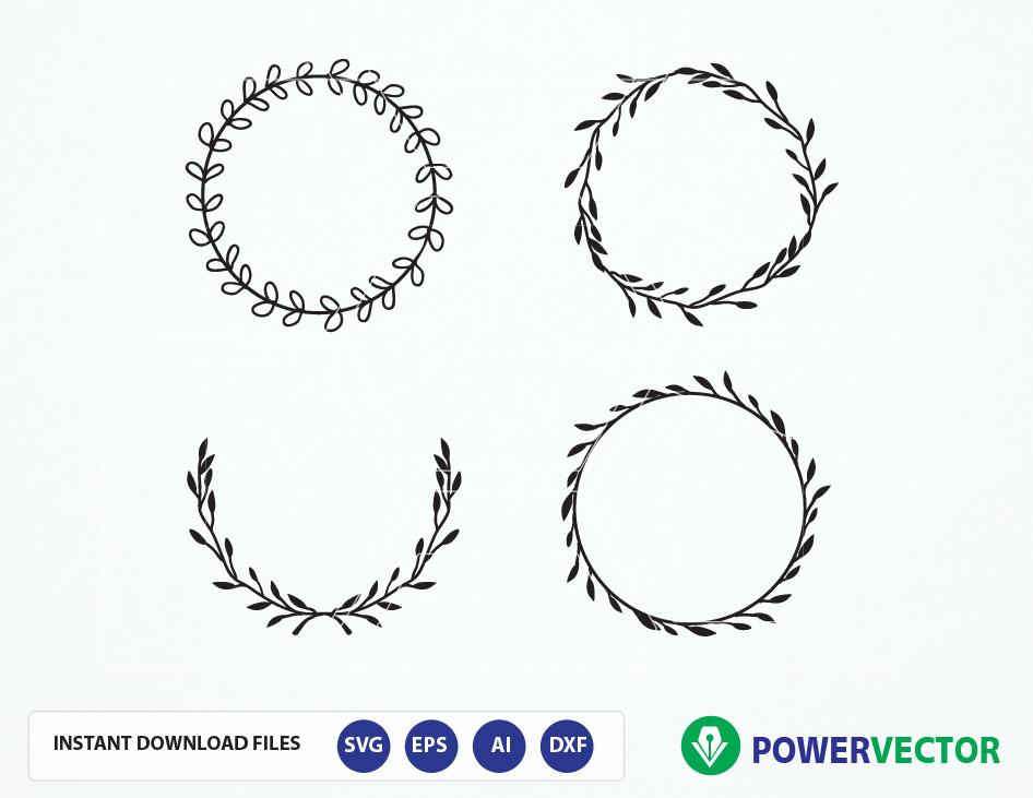 Vintage wreath w design. Laurel clipart pdf free library