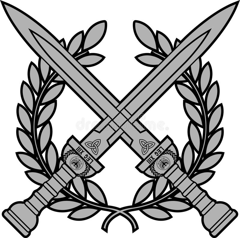 Laurel clipart roman. Swords with wreath stock clip art black and white download
