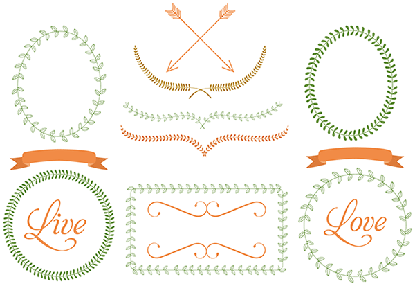 Laurel clipart round vine. Free frames ribbons dividers