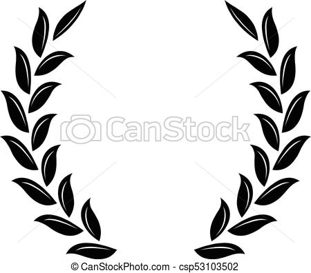 Black wreath a symbol. Laurel clipart wheat banner black and white library