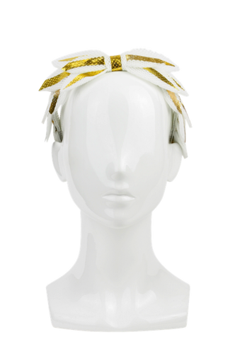 Laurel drawing headband. Gold and white leaf