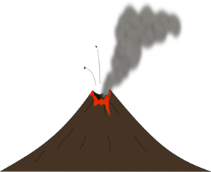 With smoke and lava. Volcano clipart vector