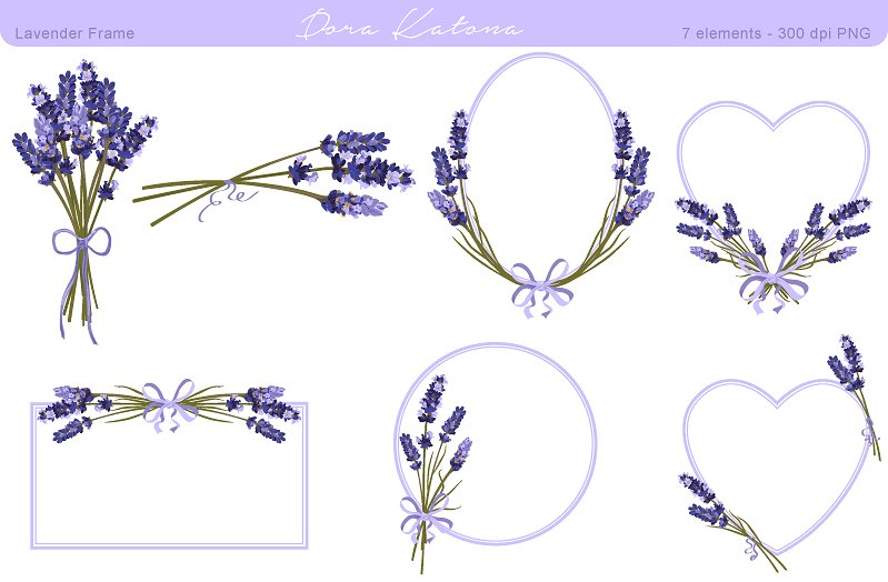 Lavender clipart. Flower frame and graphics