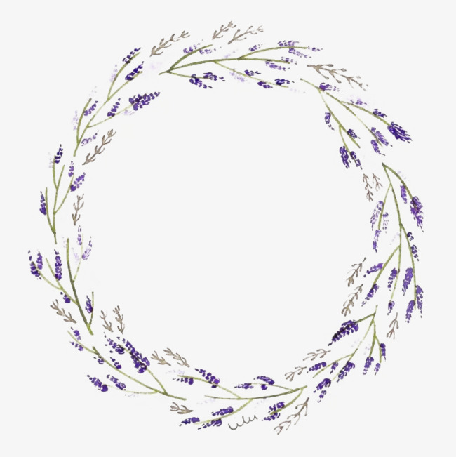 Lavender clipart lavender wreath. Round branches and leaves