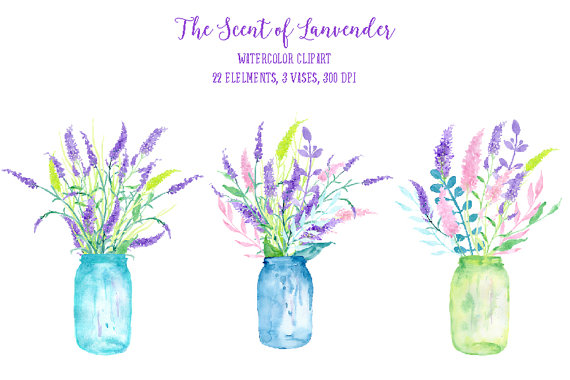 Lavender clipart printable. Watercolor the scent of