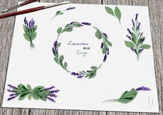 Lavender clipart svg. Wreath garland watercolor handpainted