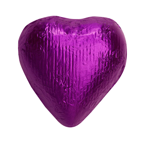 Lavender heart png. Purple foiled solid milk