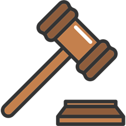Law transparent judge gavel. Mace court tools and