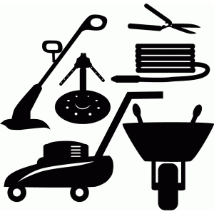 Lawn care clipart design. Silhouette store view set