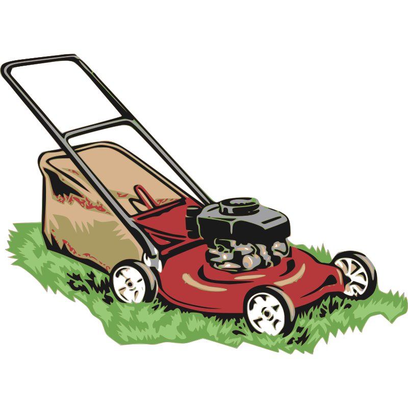 Mowing clipart tractor driver. Red lawnmower clip art